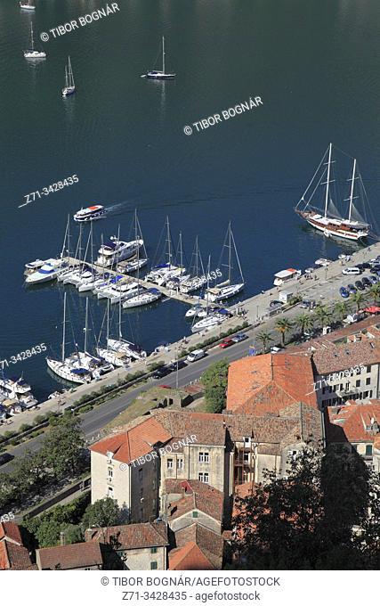 Montenegro, Kotor, marina, boats, aerial view