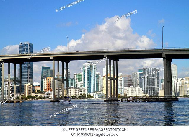 Florida, Miami, Biscayne Bay, Rickenbacker Causeway, bridge, city skyline, Brickell, downtown, water, skyscrapers, high rise, condominium, office, buildings