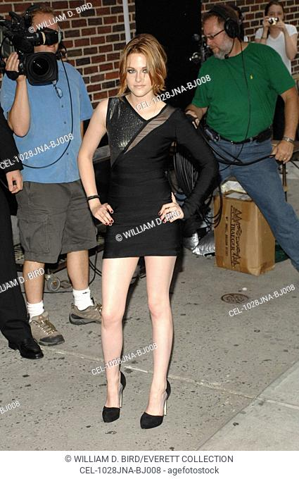 Kristen Stewart (wearing a Herve Leger dress) at talk show appearance for The Late Show with David Letterman - MON, Ed Sullivan Theater, New York, NY June 28