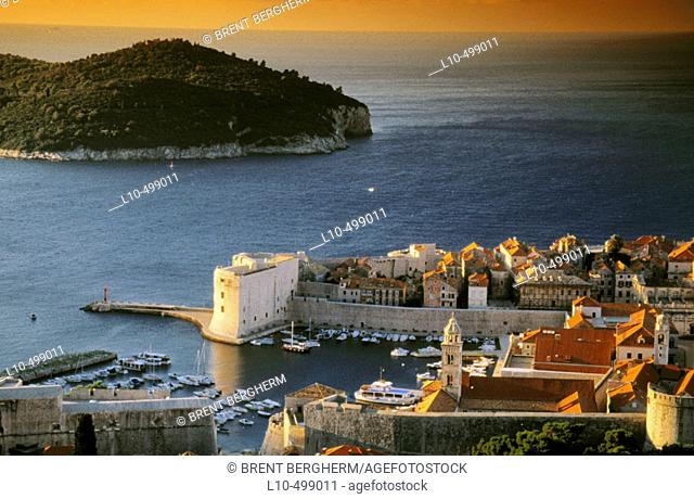 Early morning over old town Dubrovnick and old harbor, Lokrum Island in Adriatic Sea. Croatia