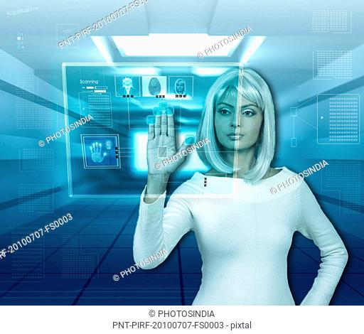 Woman using biometrics system