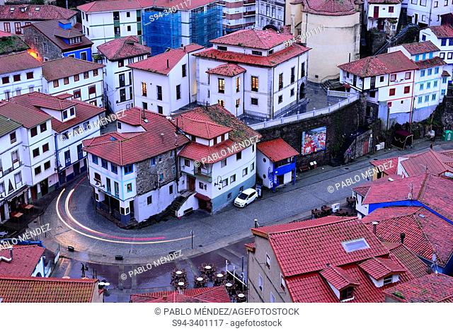 View of the rooves and houses of Cudillero, Asturias, Spain