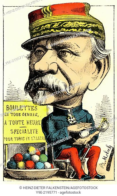 Jean-Joseph Frédéric Albert Farre, 1816 - 1887, a French general and statesman, , Political caricature, 1882, by Alphonse Hector Colomb pseudonym B