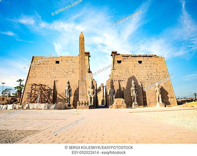 Entrance to Luxor Temple and blue sky