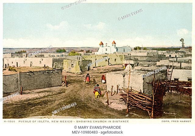 Pueblo of Isleta, near Albuquerque, New Mexico, USA, with a church in the distance