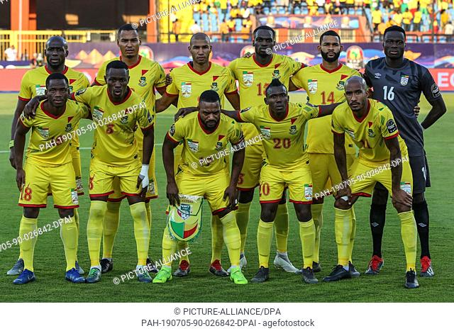 05 July 2019, Egypt, Cairo: Benin players pose for the team picture prior to the start of the 2019 Africa Cup of Nations round of 16 soccer match between...