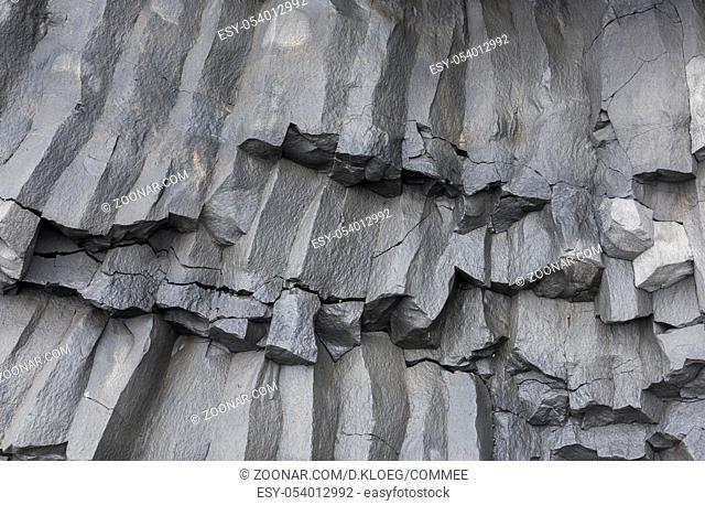 Grey basaltic rocks on Iceland at the Reynisfjara Black Sand Beach