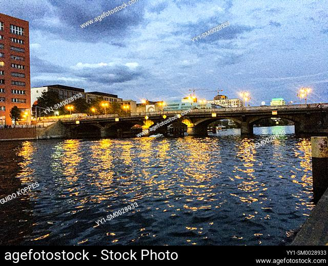 Berlin, Germany, The Spree River and one of it's Bridges leading towards Ostbahnhof