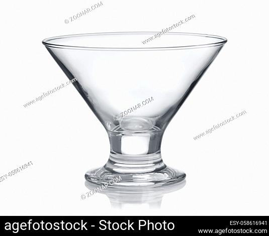 Front view of empty glass ice cream cup isolated on white