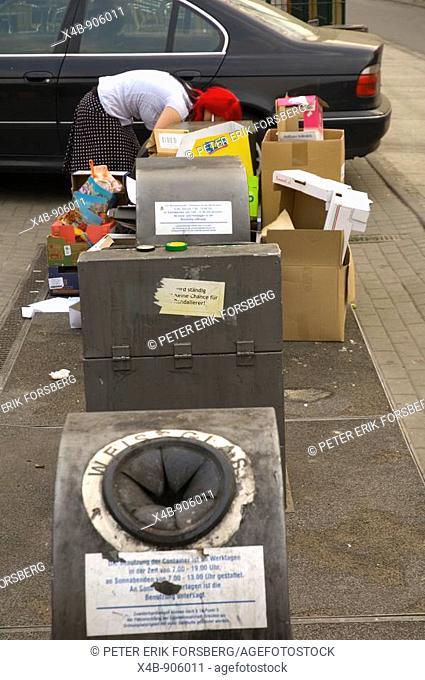 Recycling bins in Neustadt Dresden Germany EU