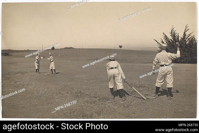 Fig. 3: Two boys with a ball and bat, playing Barn Ball. Spalding, A. G. (Albert Goodwill) (Collector). The A. G. Spalding Baseball Collection