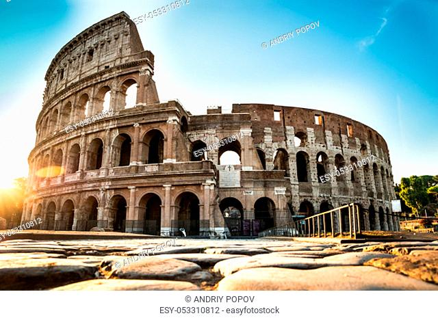 Colosseum Exterior At Sunrise In Rome, Italy