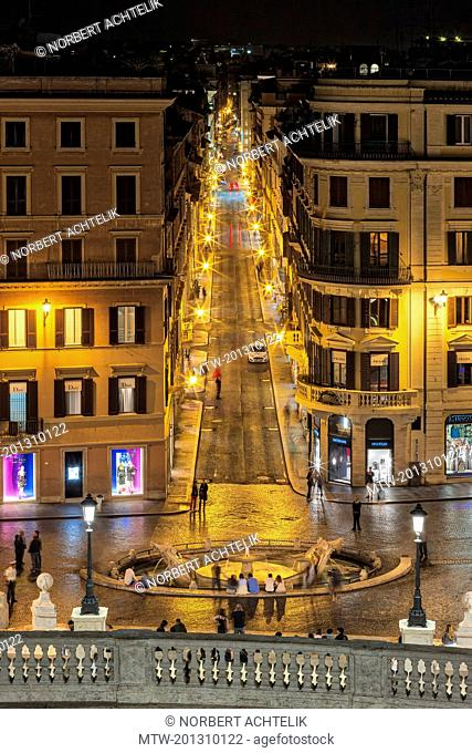 Via Condotti from the Spanish Steps, Piazza di Spagna, Rome, Italy