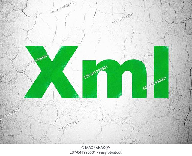 Database concept: Green Xml on textured concrete wall background