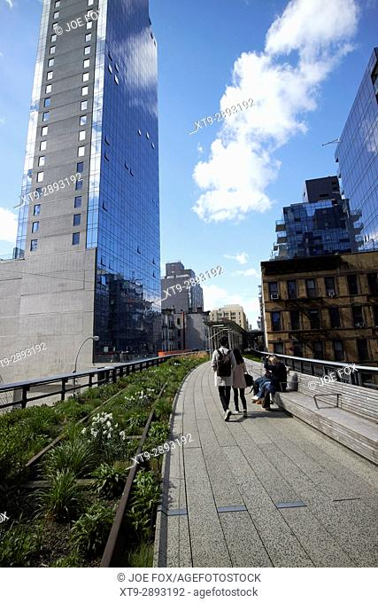 the high line elevated park walkway with old train line chelsea New York City USA