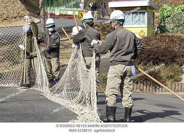 February 22, 2019, Tokyo, Japan - Zookeepers hold up a net during an Escaped Animal Drill at Tama Zoological Park. The annual escape drill is held to train...