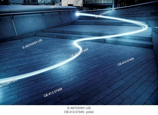 Fiber optic light trail communication technology streaming, concept