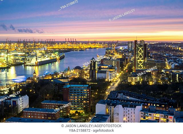 High Angle view of central Hamburg at dusk, Hamburg, Germany, Europe