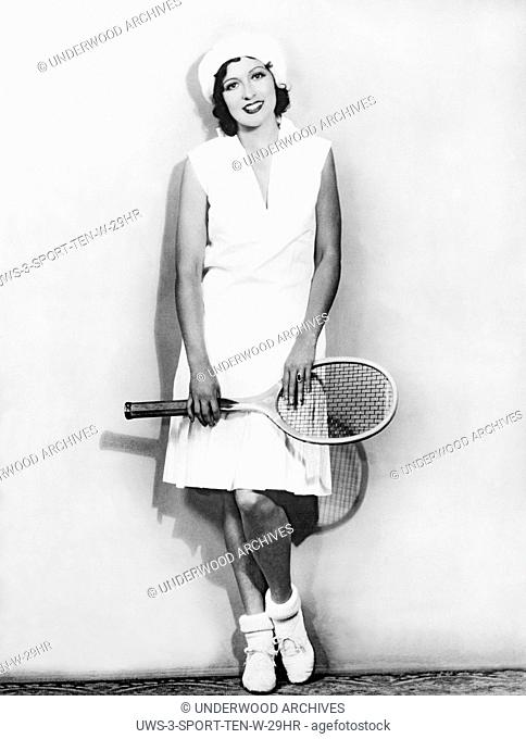 Hollywood, California: c. 1928 Movie Actress Mary Duncan models her new tennis outfit