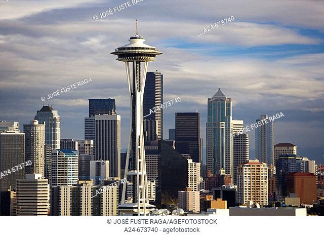 Oct. 2007. USA. Washington State. Seattle City. Space Needele and Downtown Skyline