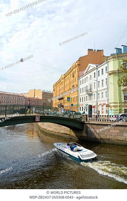 Boat in Griboyedova canal, at Sennaya square, Saint Petersburg, Russia, Europe