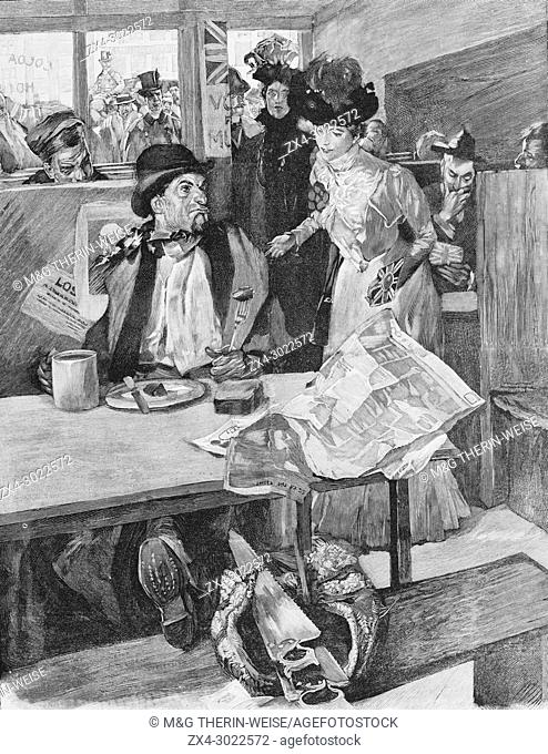 Lady making electoral propaganda in a British pub, Picture from the French weekly newspaper l'Illustration, 13rd October 1900