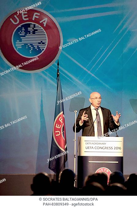 Michael Van Praag, candidate for the presidency of UEFA gives speech during the 12th UEFA extraordinary congress in Athens, Greece