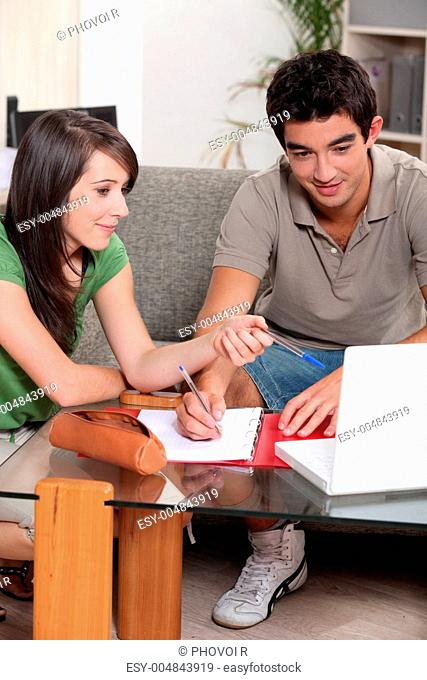Two teenager doing home work