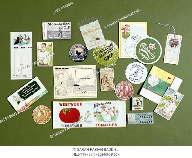 Golfing ephemera 1900 - 1990; including a pin book, button cards, hooks-and-eyes, hairnet envelope and persimmon seed