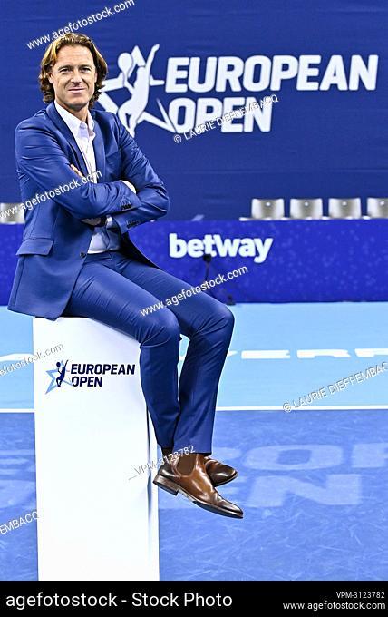 European Open Director Dick Norman poses for the photographer after a tennis match between Italian Sinner and Argentinian Schwartzman