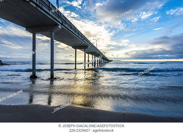 View of the Ocean Beach Pier and the ocean during sunset. San Diego, California, United States