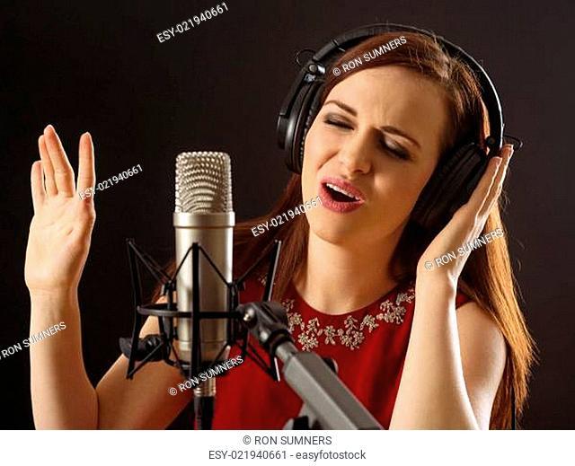 Singing in the recording studio