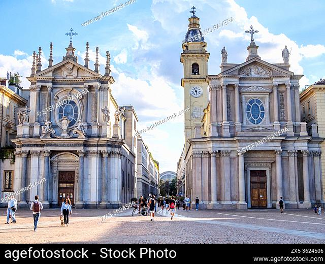 The Church of Santa Cristina (Left) and the Church of San Carlo (right) in Piazza San Carlo - Turin, Italy