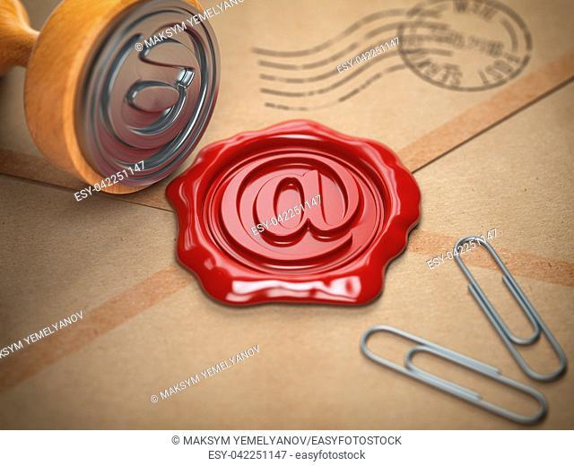 E-mail sign sealing wax stamp. Internet communication concept. 3d illustration