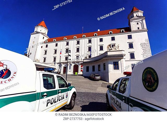 A police car, Bratislava Castle, Slovakia, Europe