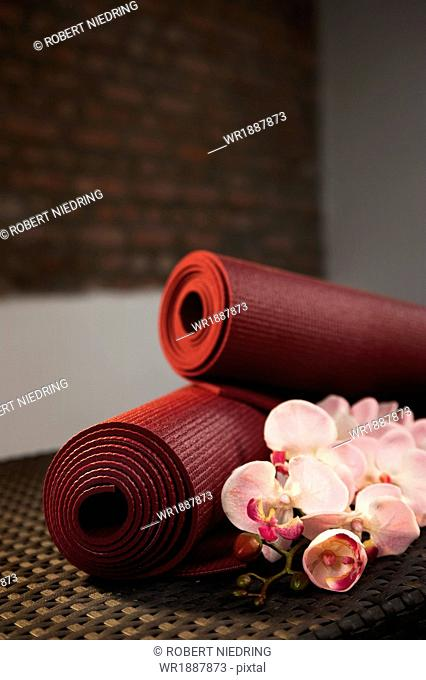 Yoga Mats And Orchids, Close-up