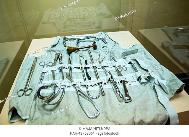 The birthing tools of an onboard doctor in the Medical History Museum in Hamburg, Germany, 28 October 2013. The University Hospital Hamburg-Eppendorf (UKE)...