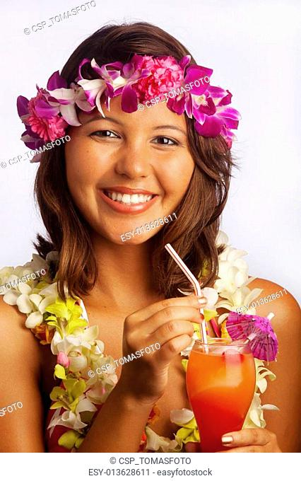 girl with flower lei and fruit