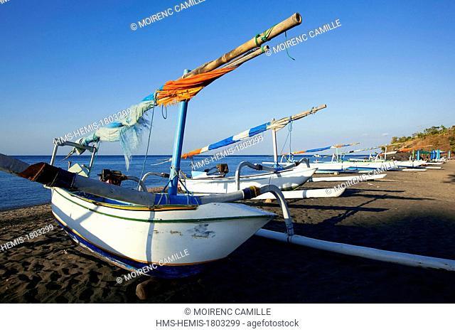 Indonesia, Bali, East Coast, Kresek, Hidden Paradise Bay, jukung, traditional fishing boats