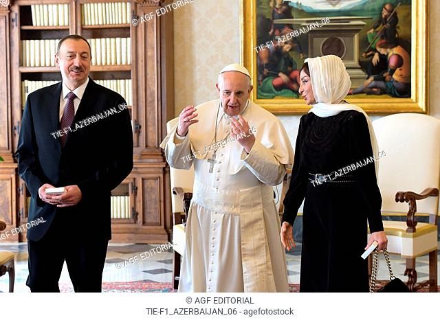 Pope Francis met President of Azerbaijan Ilham ALIYEV and his wife Mehriban Aliyeva during a private audience at the Vatican on March 6, 2015