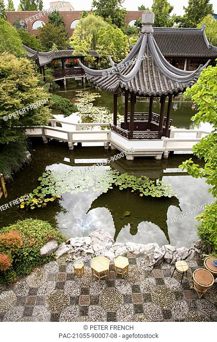 Oregon, Portland, Chinatown, Chinese Gardens, Overlooking patio, pond and gardens