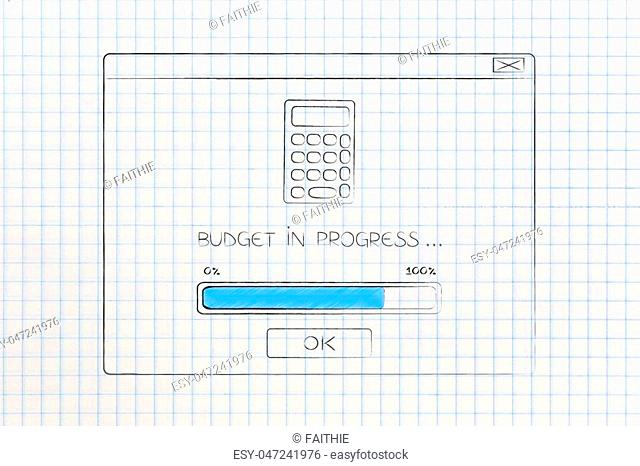 calculate your budget conceptual illustration: budgeting in progress pop-up window with calculator icon and bar loading