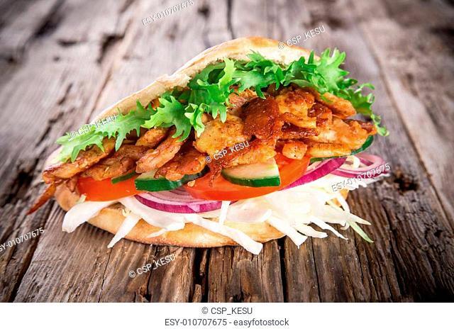 pita bread and kebab meat