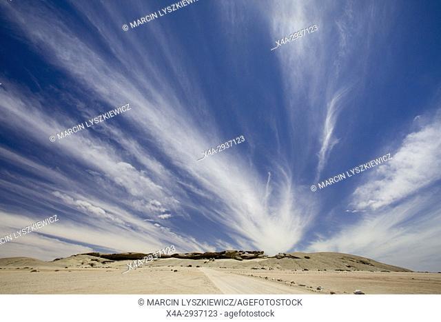 Hills and clouds on Namib desert near Swakopmund, Namibia