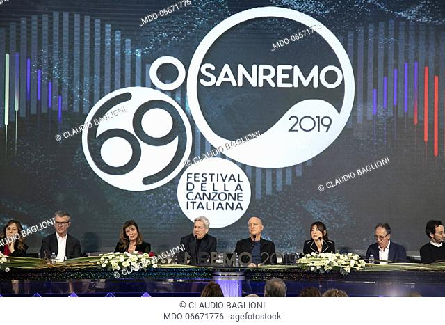 Claudio Baglioni, Claudio Bisio and Virginia Raffaele at the first press conference of the 69th Sanremo Music Festival. Sanremo (Italy), Fabruary 5th, 2019