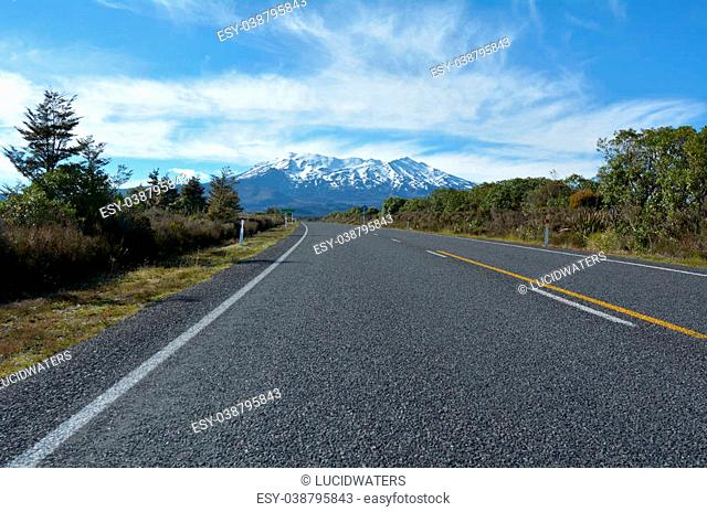 NATIONAL PARK, NZ - DEC 8 2014:The main road to Mount Ruapehu.It began erupting at least 250, 000?years ago. In recorded history