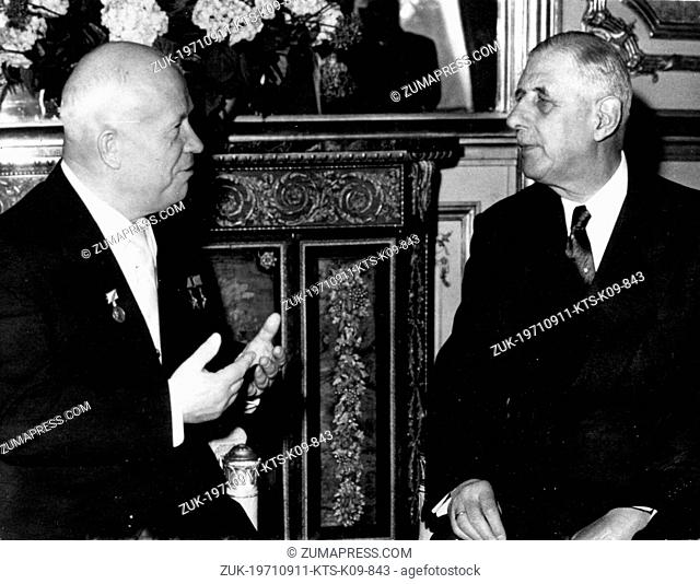 Sept. 11, 1971 - Paris, France - Russian Prime Minister NIKITA KHRUSHCHEV visits with General CHARLES DE GAULLE during his visit to Paris
