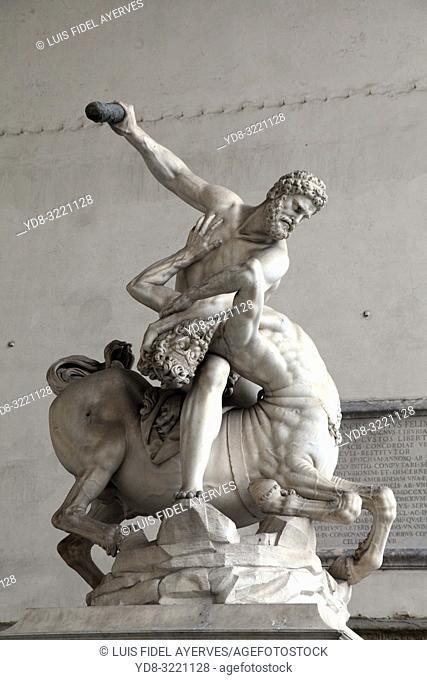 Hercules and Nessus, Loggia dei Lanzi, Piazza della Signoria, Florence, Tuscany, Italy