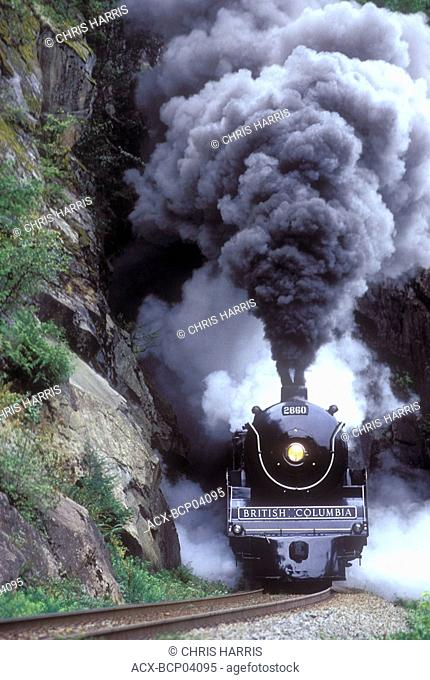 The Royal Hudson steam train emerges from a tunnel, British Columbia, Canada
