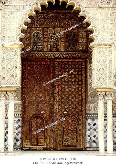 One of a series of elaborately carved double doors in the Court of the Maidens at the Alcazar, Seville